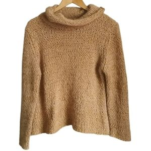 VINTAGE Tan Chunky Loose Knit Cowl Neck Mohair Sweater Size Large